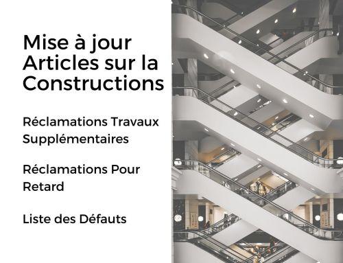 Mise à jour articles sur la Construction